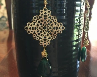 Gold handmade wired earrings