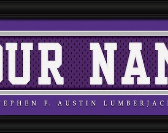 Stephen F. Austin Lumberjacks NCAA Framed Personalized Jersey Nameplate College Sports  Home Decor 22x6 Inches Free Shipping