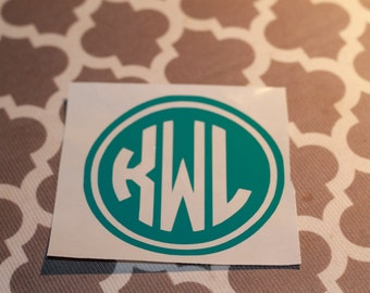 Custom Circle Monogram Vinyl Decal