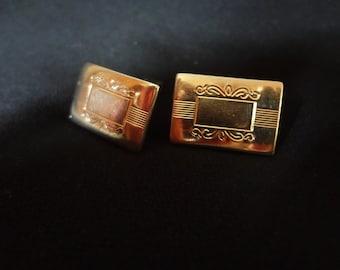 Cuff Links Gold-tone Mid-Century Rectangular