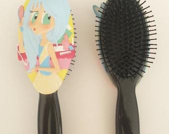 Kids Hairbrush Blue Hair Rock Star Princess Girl Hairbrush