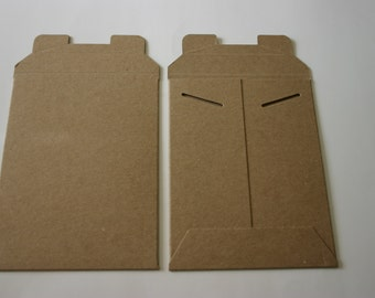 25 Eco Friendly Rigid 6x8 Brown Kraft Tab Lock Stayflats Photo Decal Sticker Mailers Envelopes Recycled