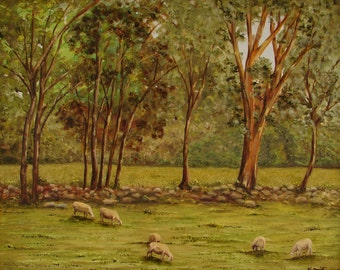 Original oil painting. Sheep grazing in a meadow. Rural landscape of Spain. On fine linen canvas oil painting