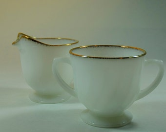 Vintage Anchor Hocking Fire King Sugar Bowl and Milk Jug or Creamer White Swirl Pattern With Gold Rim
