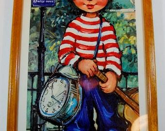 Michel Thomas Big Eyes French Child Art Print 1960's Original Frame, Retro