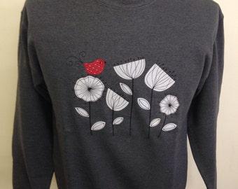 Red Bird White Flowers Applique Sweatshirt