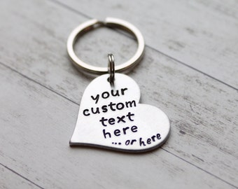 Heart personalized hand stamped keychain, hand stamped keychain, personalized keychain, custom text keychain, heart keychain valentine's day