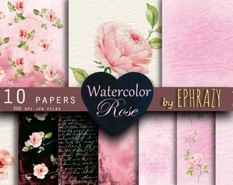 30% OFF AND MORE. Watercolor paper. Watercolor digital paper. Digital watercolor. Watercolor floral. Shabby chic. Shabby chic paper. Rose.