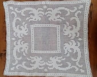 Vintage Filet Crochet Large Lace Doily Large Square/Rectangular Table Runner Ecru Ivory Colour