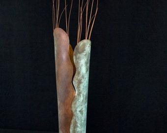 handmade table top sculptural copper vessel w/green patina