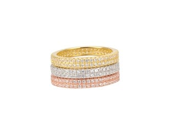 Eternity Bands   Eternity Rings   Micro Pave Eternity Bands   Sterling Silver   Sterling Silver   Set Of 3 Micro Pave Eternity Bands (RTP)