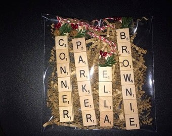 Custom scrabble tile Ornaments~Up to 5 letters