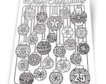 Christmas Coloring Advent Calendar - Printable 8.5x11 PDF Download - Xmas Coloring page countdown for kids and adults