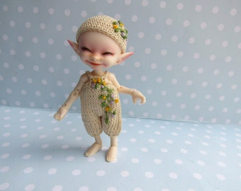 Hat and Rompersuit / Romper for RealPuki bjd doll - Handmade Outfit Set for Real Puki Realpiki Fairyland mini tiny bjd