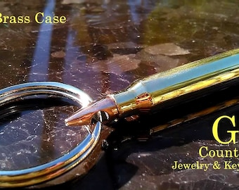 Bullet key chain 223 Remington  brass or steel bullet jewelry accessory,unique gift for men or women