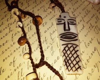 Tribal crocheted necklace with wooden beads