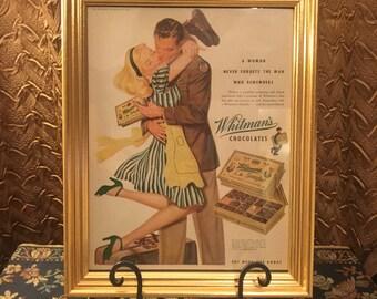 Vintage Whitmans Chocolate Framed Illustration
