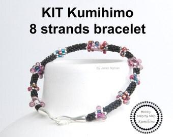 Kumihimo KIT pattern tutorial bracelet 8 Strands, Sterling Silver clasp included!
