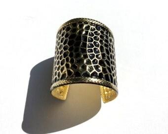 Indian Cuff Bracelet; Golden and Black Metal Cuff Bracelet