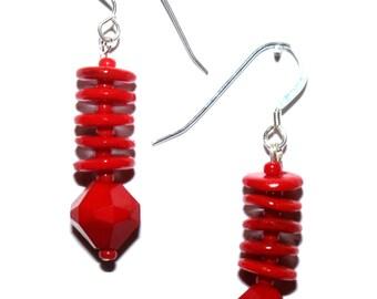 1940's vintage red glass bead earrings, Pantone Fiesta