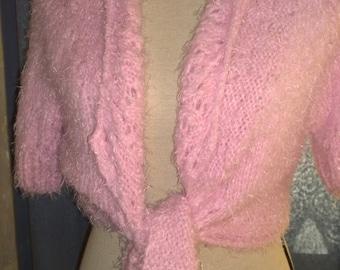 pink bolero wool polyamide handknitted