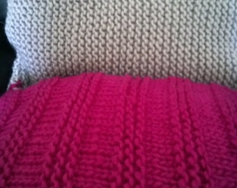 handknitted pink and grey cushions