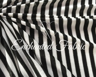 "Black and Off White 1/4"" Striped Rayon Jersey Knit Fabric for Baby Wrap,Baby Backdrop Fabric for Newborn Photography and Apparel - 209"