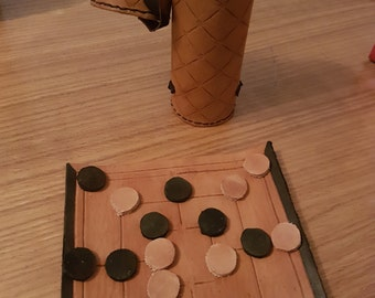 Handmade Leather 9 Men's Morris Game Set and Case