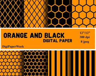 Orange and black Digital Paper strips scrapbooking grid background Instant download honeycomb pattern Personal and Commercial Use