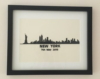 Silhouette New York paper Cut Picture, Framed,option to personalise