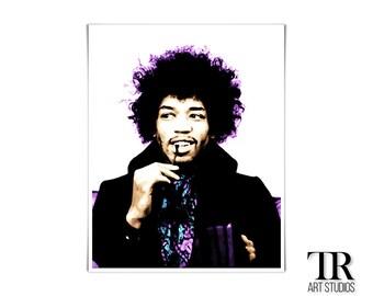 Jimi Hendrix Pop Art Print Available in Multiple Sizes