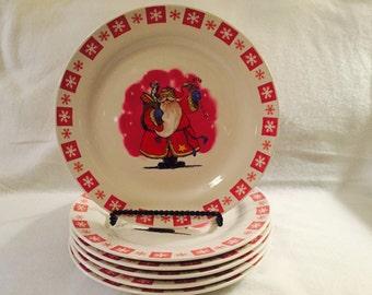 Vintage Christmas Dinner Plates - Set of 6