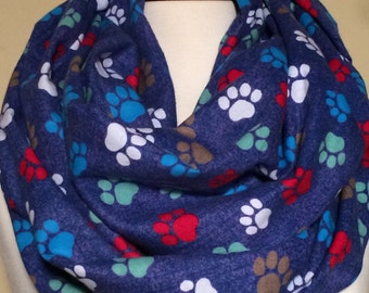 Paw Print Infinity Scarf Dog Scarf Paw Print Scarves Puppy Infinity Scarfs Multi Colored Gift Flannel