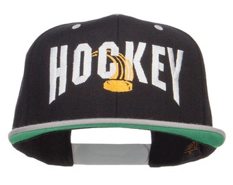 Hockey With Puck Embroidered Snapback Cap