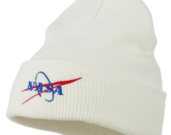 NASA Logo Embroidered Long Knit Beanie Hat