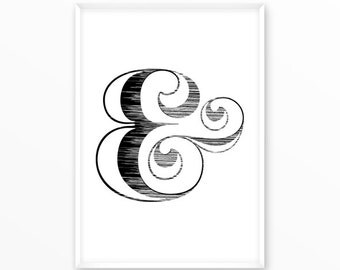 Ampersand, sign, type,Print, printable, art,digital, Typography, Poster, Vintage, Grunge,Inspiration Home Decor, Screenprint, wall art, gift