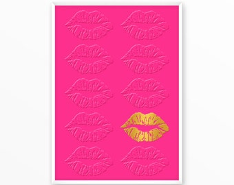 Kiss Print, Lips, mouth, gold, pink, printable, art, digital, emboss Typography, Poster, Inspiration Home Decor, Screenprint, wall art, gift