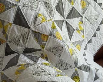 Handmade Organic Pinwheel Baby Quilt - On sale