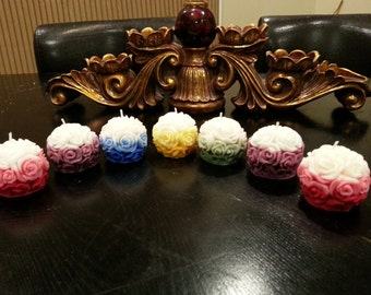 HANDMADE Carved Rose Ball/Round Candles