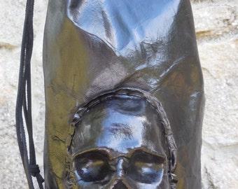 Leather Skull Backpack - Handmade Black Bag