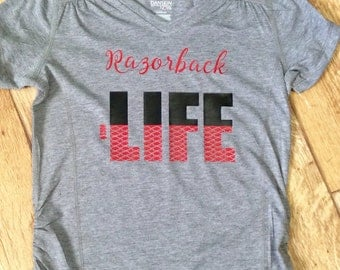 Razorback Life Shirt, Girls Arkansas Razorback Shirt, Hogs Vinyl Shirt,