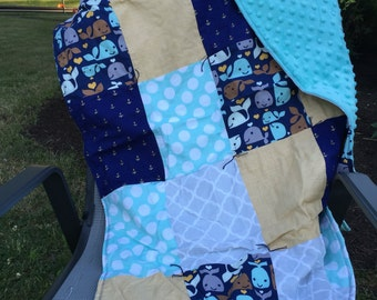 Whale Patchwork Baby Blanket