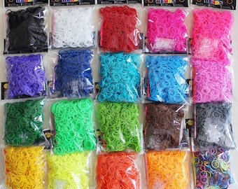 600 Pcs Rubber Loom Band Refills + 25 s-clips for DIY - Over 40 To Choose from -- Buy 1 & Get Each Additional Pack 50% - FREE SHIPPING