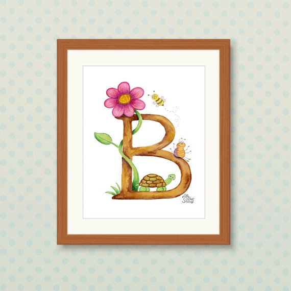 Wall Decor Letter B : Items similar to alphabet art print letter b nursery