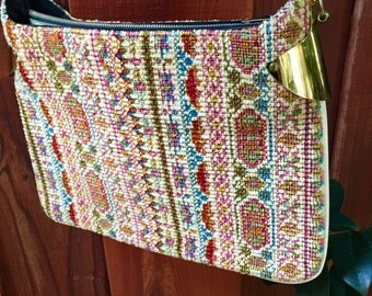 70s Bohemain Gold Chain Brass Tapestry Purse