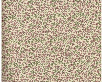 Fat Quarter, MC1469FQ, 100% Cotton Fabric, David Textiles, Small Dusty Rose Flowers with Green Leaves on Beige