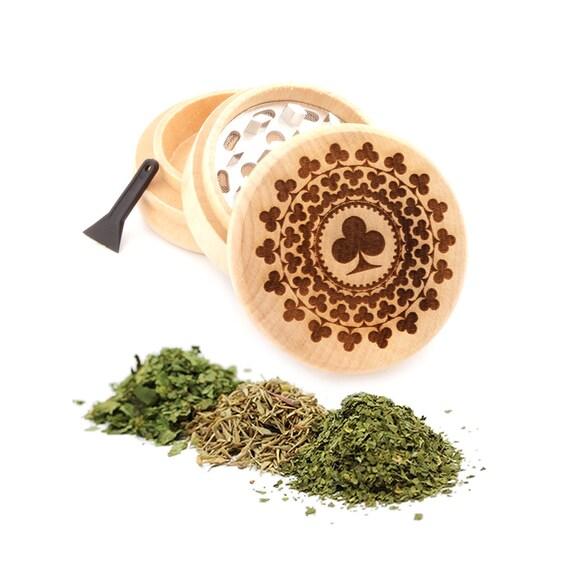 Spade Engraved Premium Natural Wooden Grinder Item # PW91316-41