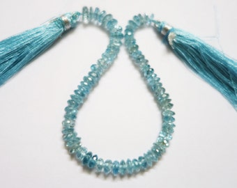 Natural Blue Zircon Faceted Rondelle (AAA Quality) -  Zircon Rondelles Beads