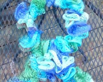 Sea Blue Ruffly Scarf