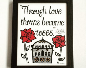 Islamic art, islamic wall art, islamic gift, islamic quote, rumi quote, roses painting (framed)